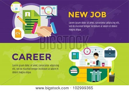 New job search and career work infographic