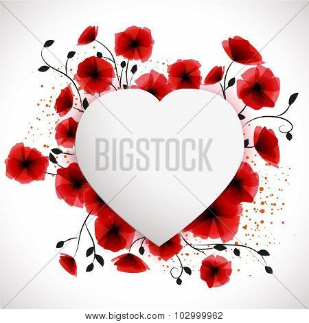 Heart Poppies Background