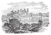 Old engraved illustration of Conway Castle, in North Wales. Build by King Edward between 1283 and 1289. Scan from Trousset Encyclopedia 1886 - 1891. Live trace vector. poster