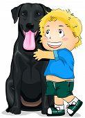 Illustration of a Kid Hugging a Labrador poster