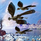 Archaeopteryx reptile birds fly near a shoreline hunting for fish on a cloudy prehistoric day. poster