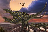 Parental Aucasaurus dinosaurs defend their youngsters from a passing predator in their territory as Zhenyuanopterus reptile birds fly nearby. poster