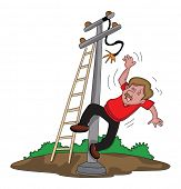 Vector illustration of electrician falling down from ladder after an electric shock. poster