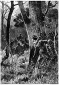 Seven men were there, vintage engraved illustration. Jules Verne Cesar Cascabel, 1890. poster