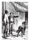 I will watch, simply replied Hercules, vintage engraved illustration.  Jules Verne, a 15 year old captain.  poster