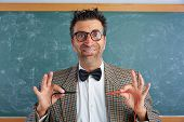 Nerd electronics technician retro teacher silly expression working tester pins poster