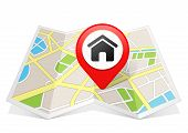 Home House Real Estate Icon Map pointer Location Destination on map poster