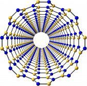 Boron nitride nanotube isolated on white background. 3D illustration poster
