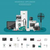 Household appliance banner with vector flat icons microwave, coffee machine, washing machine, etc. poster