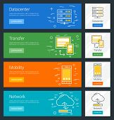 Datacenter. Transfer. Mobility. Network. Flat Design Concept. Set of Vector Web Banners poster