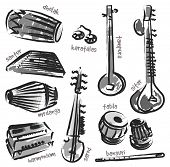 Isolated traditional indian instruments. Vector set for music billboard poster