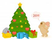 cartoon little toy bunny with fir-tree and gifts poster