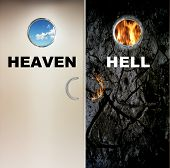 two heavy doors to heaven and hell poster