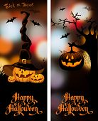 Halloween night blurred background with pumpkin and calligraphy inscription Happy Halloween. Vector illustration. poster