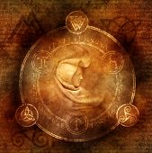 Pagan Sorceress with robed and hooded female figure enclosed within a magic circle of mysterious pagan and runic symbols. poster