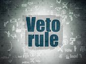 Political concept: Painted blue text Veto Rule on Digital Paper background with Scheme Of Hand Drawn Politics Icons poster