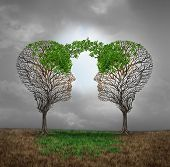 Mutual support and saving one another as a benefit to each other business concept as two sick trees with new leaves growth emerging shaped as a human head providing a revival for success. poster