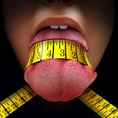 Calorie restriction concept as a tape measure wrapped tight around a human tongue as a fasting diet or dieting symbol for anorexia or dietary control. poster