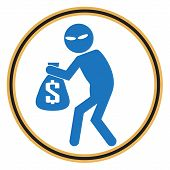 Beware pickpocket sign thief icon symbol illustration poster