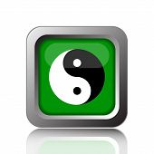 Ying yang icon. Internet button on black background. poster