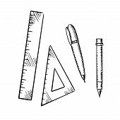 Pencil, ballpoint pen, triangle and ruler icons isolated on white background, sketch style poster