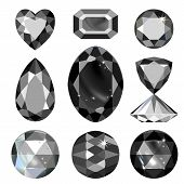 Set of greyscale black gems isolated on white background vector illustration poster