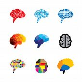 concept vector logo icons of brain and mind. this graphic also represents creativity brilliance capacity capability prowess faculty genius mind of einstein logic and logical poster