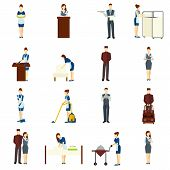 Hotel staff flat icons set with maid and waiter characters isolated vector illustration poster