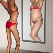 Concept or conceptual 3D woman, girl as fat, overweight vs fit healthy, skinny underweight anorexic female before and after diet over a mirror poster