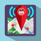 Gps Navigation Logo. Device for taxi drivers. Car Map Pointer Navigation Signal Streets Lake Parks. Digital background vector illustration poster
