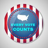 Election Day Campaign Ad Flyer. Every Vote Counts Social Promotion Banner. American Flag's Symbolic Elements - Stripes and Stars. Digital vector illustration. poster