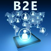 B2E - Business to Employee illustration with tablet computer on blue background poster