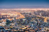 Aerial view of Cape Town from Signal Hill after sunset during the blue hour - South Africa modern city with spectacular nightscape panorama poster