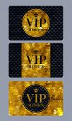 VIP member cards with abstract mosaic triangle faceted background. poster
