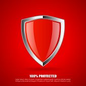 Red shield protection icon isolated on red background poster