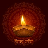 Vector illustration of burning oil lamp diya on Diwali Holiday, ancient Hindu festival of lights, on ornate dark red background. Original calligraphic inscription Happy Diwali and space for your text. poster