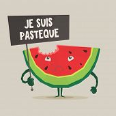 """Vector colorful illustration of watermelon with """"Je suis pasteque"""" banner in hand  in flat style   poster"""