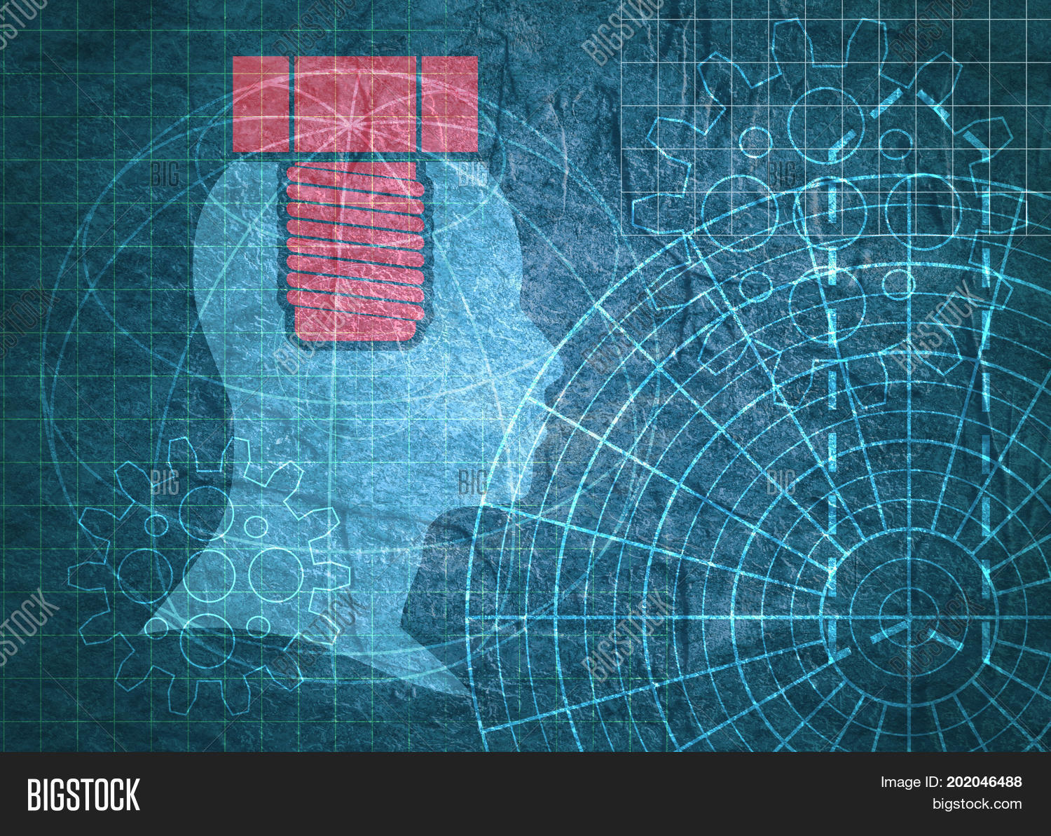 Old blueprint image photo free trial bigstock old blueprint background texture technical backdrop paper head silhouette on concrete textured backdrop malvernweather Gallery