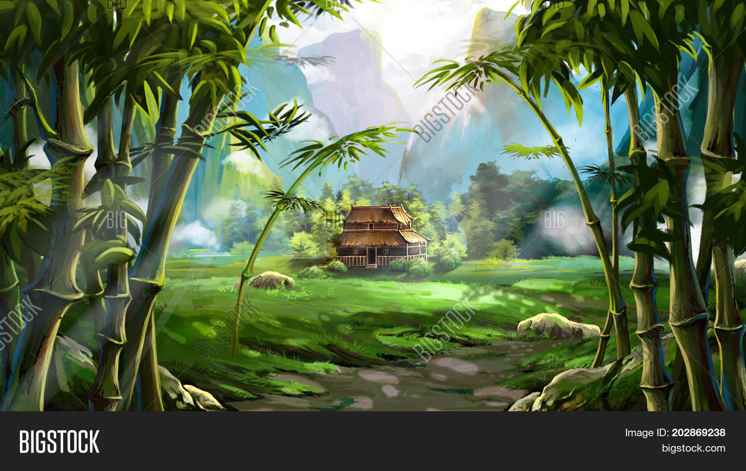 Bamboo Forest House Image Photo Free Trial Bigstock