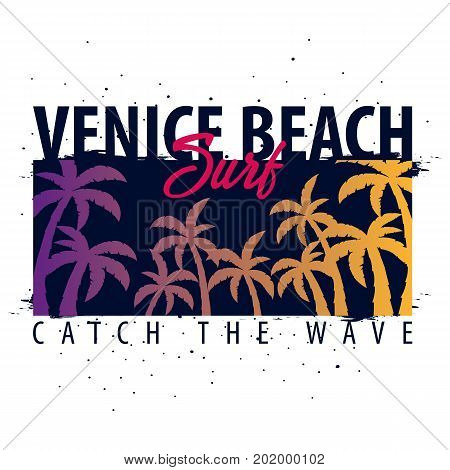 Venice Beach Surfing Graphic With Palms. T-shirt Design And Print.