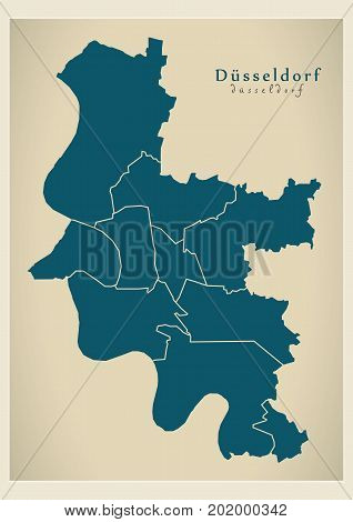 Modern City Map - Dusseldorf City Of Germany With Boroughs De