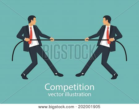 Competition concept. Business people. Businessmen in suit pull the rope as a symbol of rivalry, competition, conflict. Tug of war. Vector illustration, flat design. Corporate conflicts.