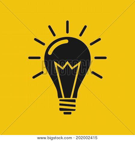 Idea icon. Black silhouette lightbulb isolated on yellow background. Vector illustration flat design. Pictogram light. Creative innovative thought.