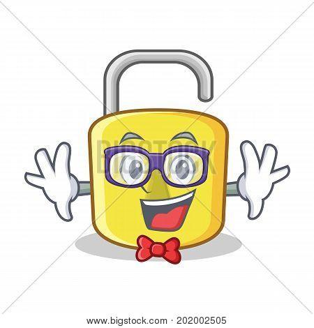 Geek yellow lock character mascot vector illustration