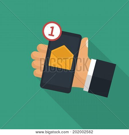 Smartphone in hand human of receiving an incoming message. SMS icon, mail. Vector illustration flat design. Incoming e-mail.
