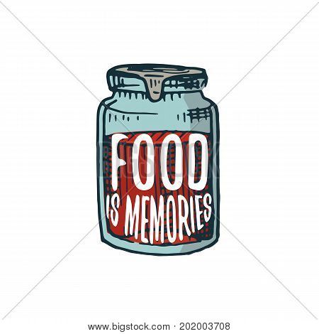 jam or kitchen utensils, cooking stuff for menu decoration. baking logo emblem or label, engraved hand drawn in old sketch or and vintage style. Food is memories