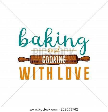 Rolling pin or kitchen, cooking stuff for menu decoration. baking logo emblem or label, engraved hand drawn in old sketch or and vintage style