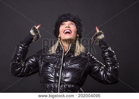 Mature Woman 40S Happy Smiling Posing Black Winter Jacket Looking Up Above