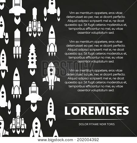 Rockets, shuttle and spaceships chalkboard poster or background. Vector illustration