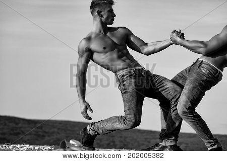 Twin Men Or Bodybuilders Wrestling